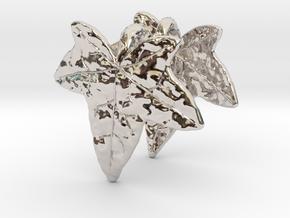 Ivy Leaf Earrings (pair) in Rhodium Plated Brass