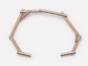 Stick open Bracelet in Polished Bronzed Silver Steel