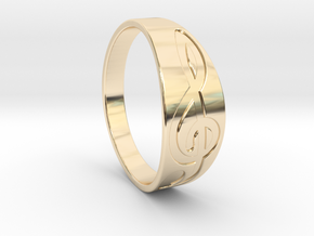 Size 7 M G-Clef Ring Engraved in 14k Gold Plated Brass