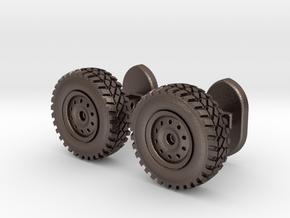 Wheel cufflinks  in Polished Bronzed Silver Steel