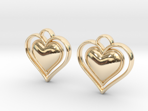 Framed Heart Earrings in 14k Gold Plated Brass