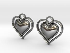 Framed Heart Earrings in Polished Silver