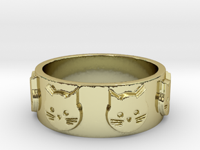 Ring of Seven Cats Ring Size 8.5 in 18K Gold Plated