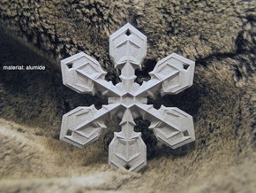 "Large Snowflake Ornament (3.5"" tip to tip) in Polished Metallic Plastic"
