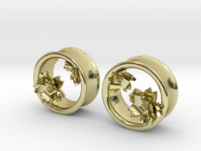 Cherry Blossom 1 Inch Tunnels in 18K Gold Plated