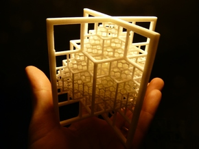 Beamed Octahedron Fractal in White Natural Versatile Plastic