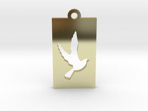 Rectangular Frame Pendant Dove Insert in 18K Gold Plated