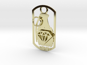 Diamond grenade dog tag in 18K Gold Plated