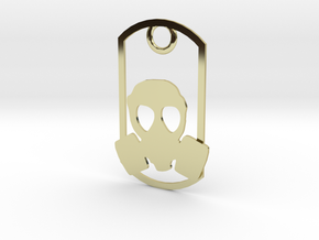 Gas Mask dog tag in 18K Gold Plated