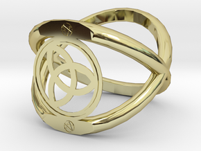 Wiccan Power Of Three Ring in 18K Gold Plated