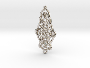 Raindrop Celtic Knot Pendant 40mm in Rhodium Plated Brass