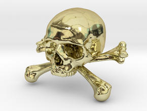 58mm 2.28in Skull & Bones Skull Crane Schädel in 18K Gold Plated