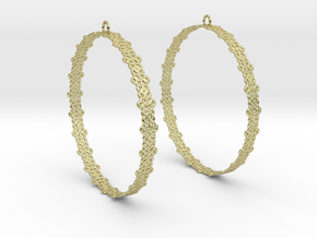 Knitted 2 Hoop Earrings 60mm in 18K Gold Plated