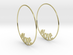 Hashtag Love Hoop Earrings 60mm in 18K Gold Plated