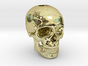 25mm 1in Keychain Bead Human Skull in 18K Gold Plated