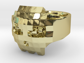 8 bits Skull Ring  size 56 mm, Ø17.8 in 18K Gold Plated