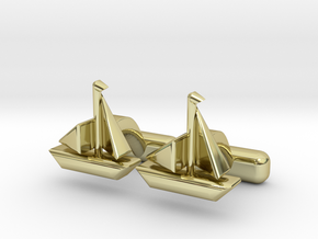 "Ship Cufflinks, Part of ""Nautical"" Collection in 18K Gold Plated"