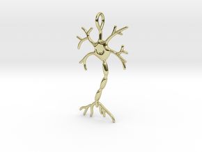"Neuron Pendant (1.7"" high) in 18K Gold Plated"
