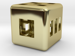 Hollow Six-sided Die (thin, rectilinear pips) in 18K Gold Plated