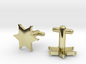 Sheriff's Star Cufflinks (2) Silver,Brass,or Gold in 18K Gold Plated
