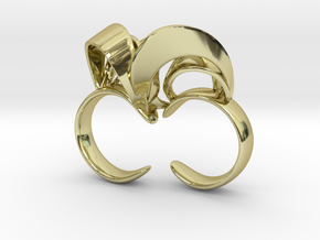 Ribbon Double Ring 7/8 in 18K Gold Plated