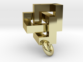 Cubic Trefoil Knot Pendant in 18K Gold Plated