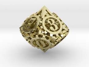 Steampunk Gear d10 in 18K Gold Plated
