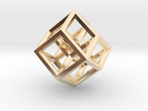 Hypercube Pendant in 14k Gold Plated: Medium