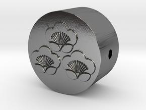 家紋の数珠ブレスレットパーツ(三つ盛り匂い梅) in Polished Silver