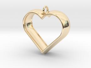 Stylized Heart Pendant in 14k Gold Plated Brass
