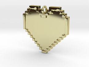 Pixel Heart Necklace Pendant or Ornament FIXED in 18K Gold Plated