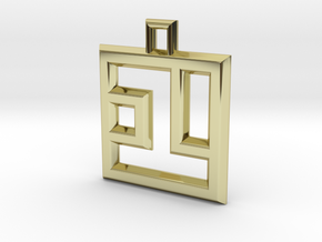 ABC Pendant - 1 Type - Wire - 24x24x3 mm in 18K Gold Plated