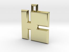 ABC Pendant - K Type - Solid - 24x24x3 mm in 18K Gold Plated