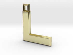 ABC Pendant - L Type - Solid - 24x24x3 mm in 18K Gold Plated