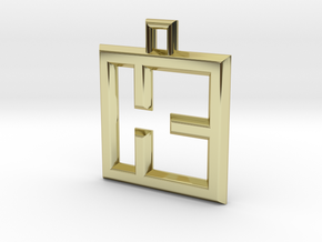 ABC Pendant - K Type - Wire - 24x24x3 mm in 18K Gold Plated