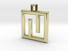 ABC Pendant - N Type - Wire - 24x24x3 mm in 18K Gold Plated