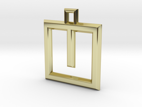 ABC Pendant - U Type - Wire - 24x24x3 mm in 18K Gold Plated