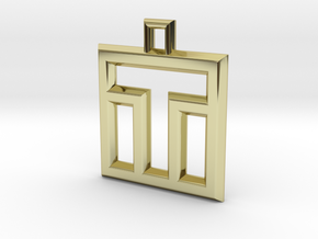 ABC Pendant - T Type - Wire - 24x24x3 mm in 18K Gold Plated
