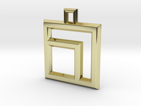 ABC Pendant - 7 Type - Wire - 24x24x3 mm in 18K Gold Plated