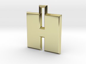 ABC Pendant - H Type - Solid - 24x24x3 mm in 18K Gold Plated
