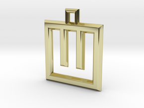 ABC Pendant - W Type - Wire - 24x24x3 mm in 18K Gold Plated