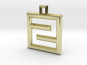 ABC Pendant - Z/2 Type - Wire - 24x24x3 mm in 18K Gold Plated