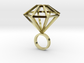 Big Diamond Ring - size 6 in 18K Gold Plated