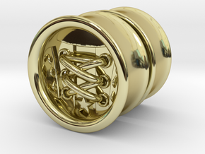 Laced Shoe Plugs 1 inch Gauge in 18K Gold Plated