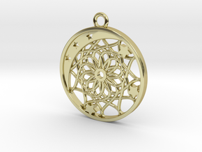 Moon, Stars and Dream Catcher Pendant in 18K Gold Plated