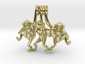 Three wise monkeys in 18K Gold Plated