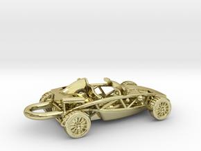 Ariel Atom brass pendant, HO scale RHD w/o wings in 18K Gold Plated