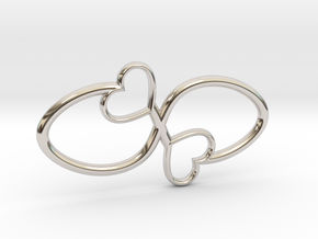 Eternal Double Heart Pendant in Rhodium Plated Brass