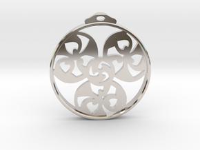 Triskele Pendant / Earring in Rhodium Plated Brass