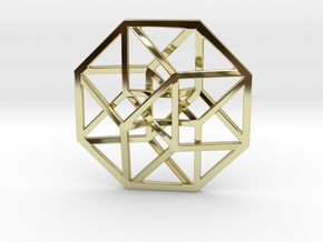 4D Hypercube (Tesseract) small in 18K Gold Plated